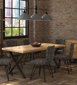 Fusion Oak & Steel Living & Dining